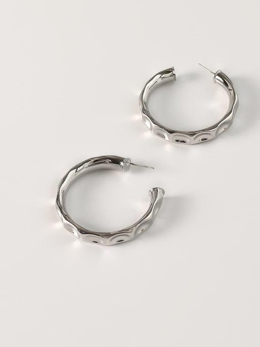 White K [large 4.5cm] Brass Geometric Minimalist Hoop Earring